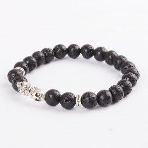 Double Silver Skulls Emotional Calmness Bracelet | Black Lava Stone Beads 2