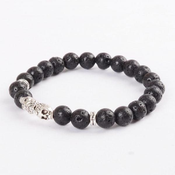 Double Silver Skulls Emotional Calmness Bracelet | Black Lava Stone Beads