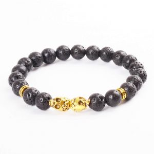 Double Golden Skulls Emotional Calmness Bracelet | Black Lava Stone Beads