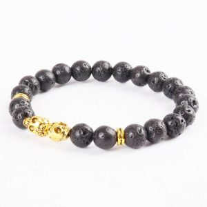 Double Golden Skulls Emotional Calmness Bracelet | Black Lava Stone Beads 2