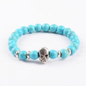 Silver Skull Honesty and Friendship Bracelet | Turquoise Stone Beads