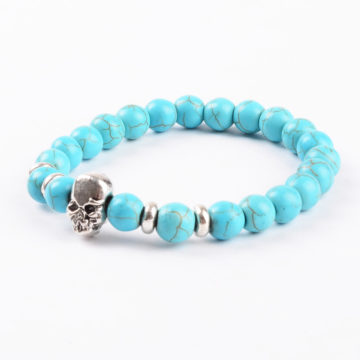 Silver Skull Honesty and Friendship Bracelet | Turquoise Stone Beads 2