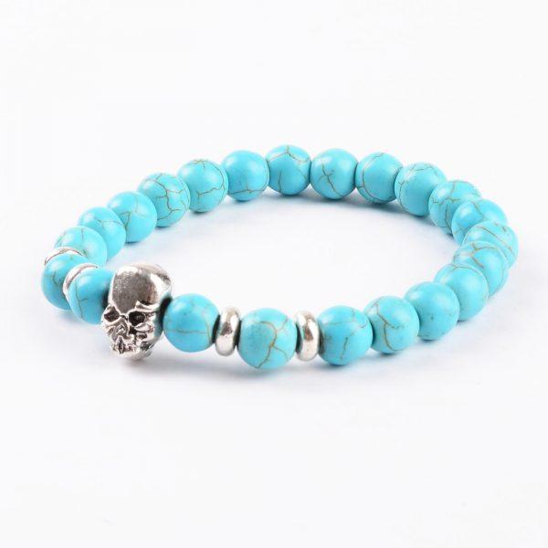 Silver Skull Honesty and Friendship Bracelet | Turquoise Stone Beads