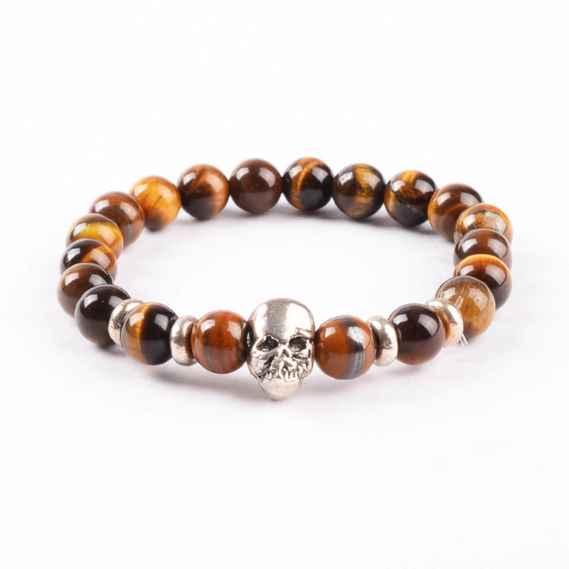 Silver Skulls Strength & Courage Bracelet | Tiger Eye Stone Beads