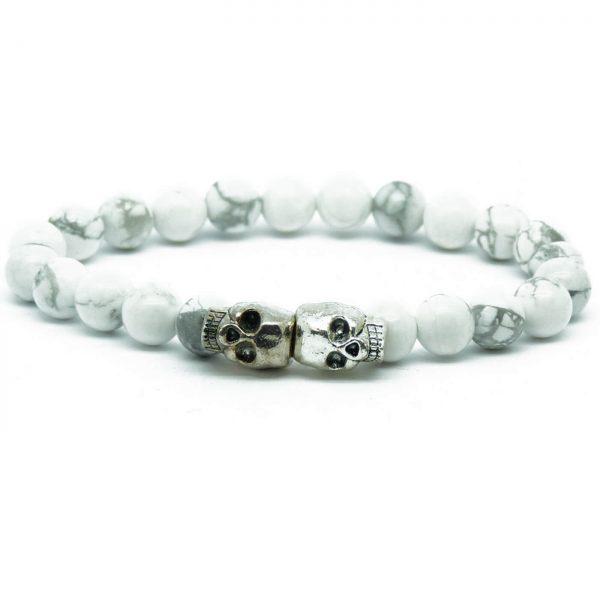 Double Silver Skulls Ambitious Progress Bracelet | Howlite Stone Beads