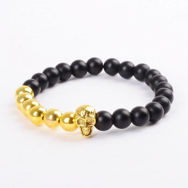 Matte Black Agate Stones & Golden Beads Skull Bracelet