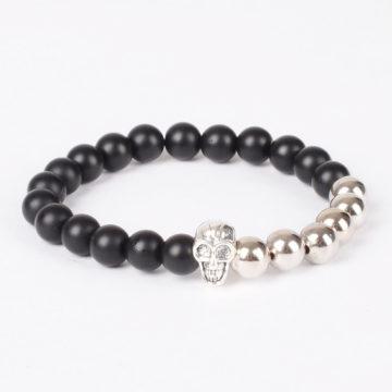 Matte Black Agate Stones & Silver Beads Skull Bracelet