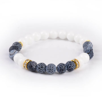 Summer Vibes Bracelet | White Jade & Black Weathered Agate Stone Beads