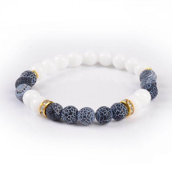 Summer Vibes Bracelet | White Jade & Black Weathered Agate Stone Beads