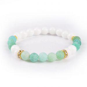 Summer Vibes Bracelet   White Jade & Green Weathered Agate Stone Beads