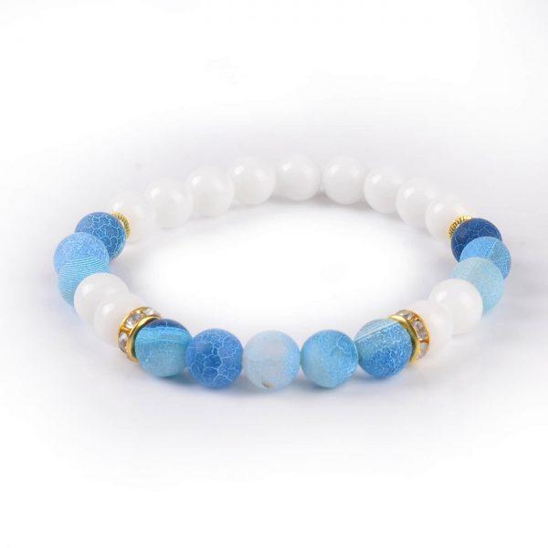 Summer Vibes Bracelet | White Jade & Blue Weathered Agate Stone Beads