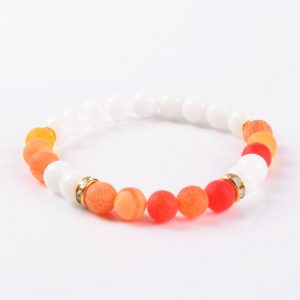 Summer Vibes Bracelet   White Jade & Orange Weathered Agate Stone Beads