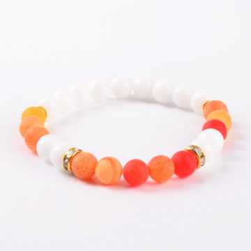 Summer Vibes Bracelet | White Jade & Orange Weathered Agate Stone Beads