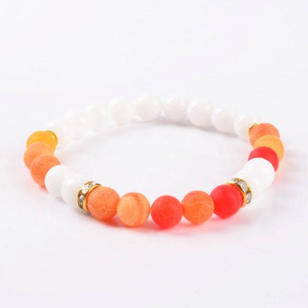 Summer Vibes Bracelet | White Jade & Orange Weathered Agate Stone Beads