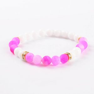 Summer Vibes Bracelet | White Jade & Pink Weathered Agate Stone Beads