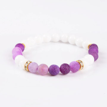 Summer Vibes Bracelet | White Jade & Purple Weathered Agate Stone Beads