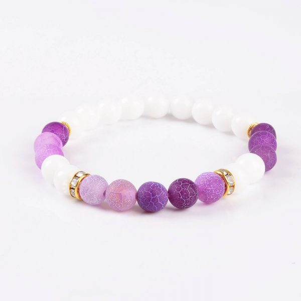 Summer Vibes Bracelet | White Jade & Purple Weathered Agate Stone Beads