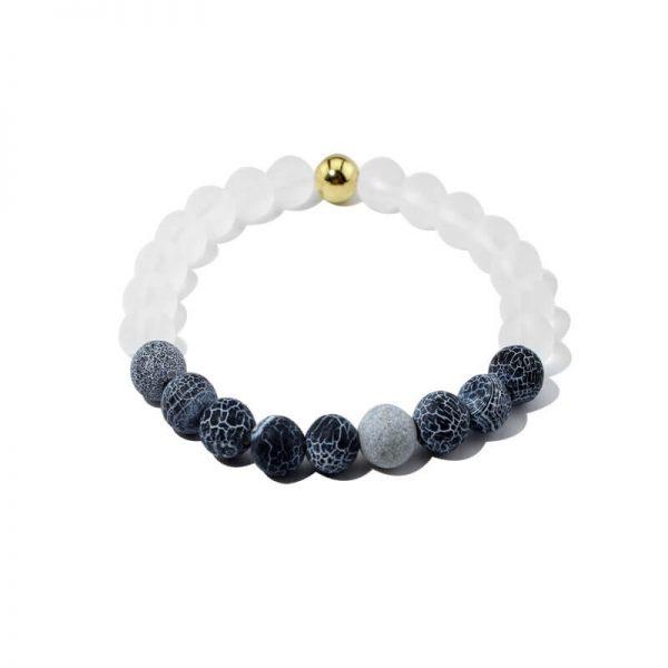 Summer Vibes Bracelet   White Bead & Black Weathered Agate Stones