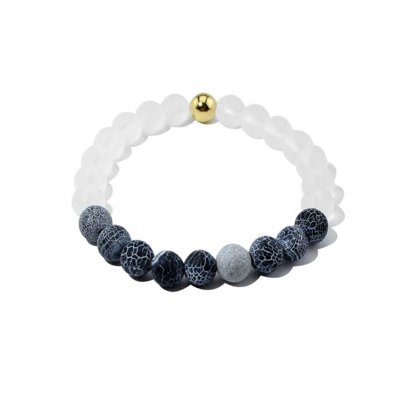 Summer Vibes Bracelet | White Bead & Black Weathered Agate Stones