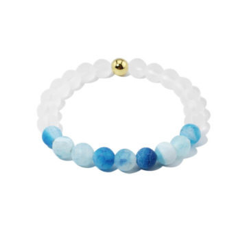 Summer Vibes Bracelet | White Bead & Light Blue Weathered Agate Stones