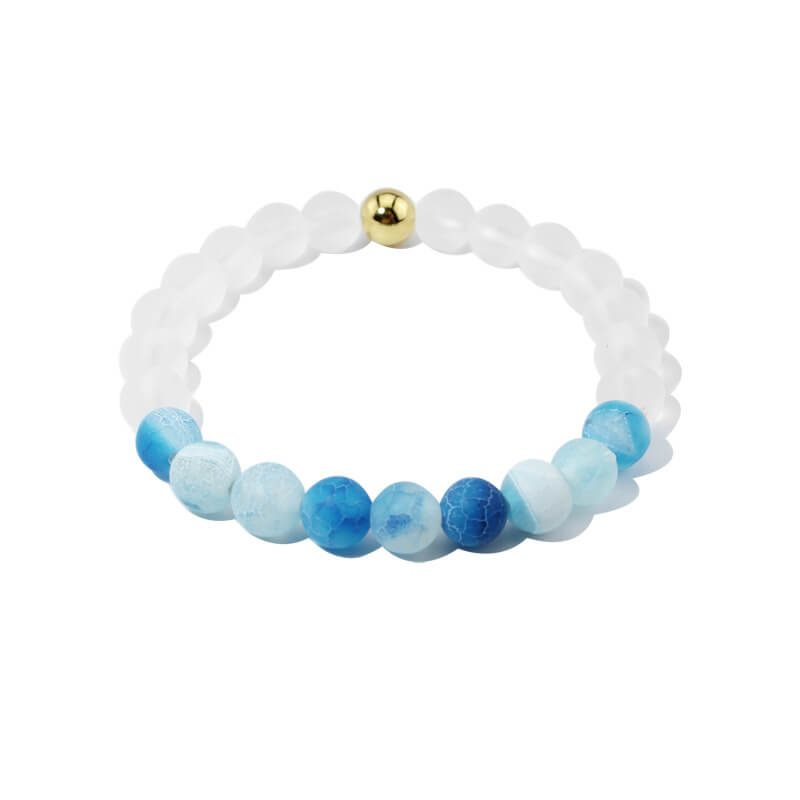 Summer Vibes Bracelet | White Bead & Light Blue Weathered Agate Stones