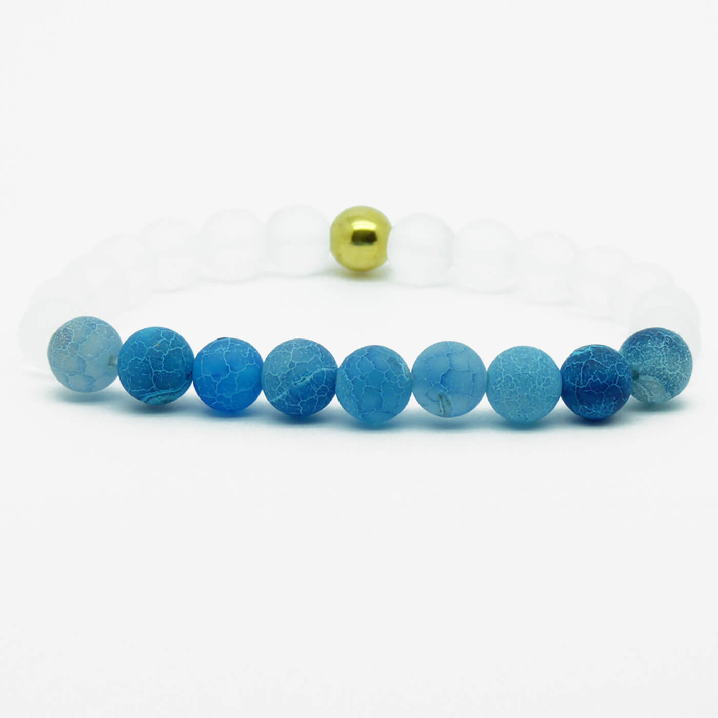 23a32033697f9c Summer Vibes Bracelet | White Bead & Light Blue Weathered Agate Stones