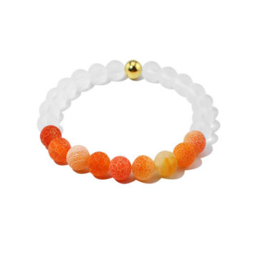Summer Vibes Bracelet | White Bead & Orange Weathered Agate Stones