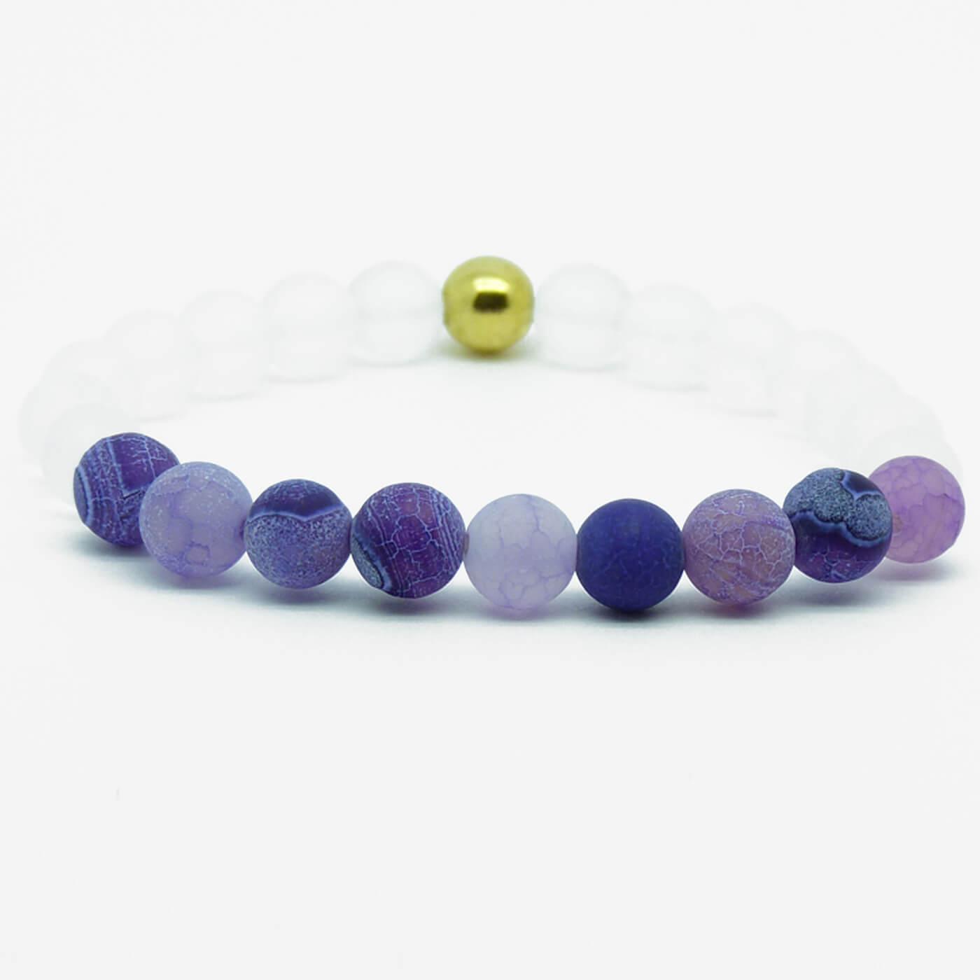 8f4db1992f26ed Summer Vibes Bracelet | White Bead & Blue Weathered Agate Stones ...