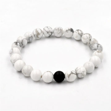 Piece And Protection Bracelet | White Howlite And Black Agate Stone Beads