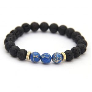 Relationship Bracelet | Lava and Blue Imperial Jasper Stone Beads