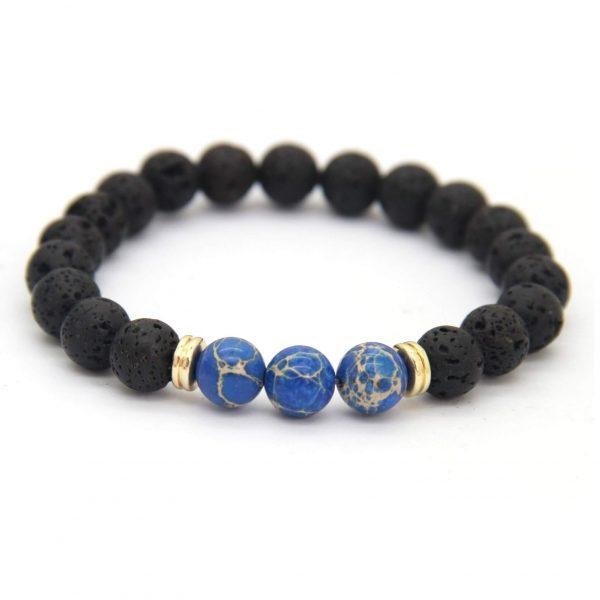 Relationship Bracelet | Lava and Blue Imperial Jasper Stone Beads