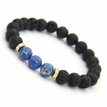 Relationship Bracelet | Lava and Blue Imperial Jasper Stone Beads 2