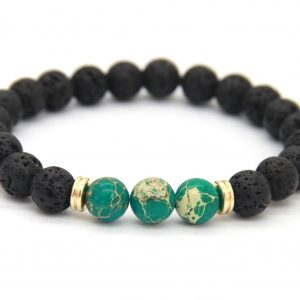 Friendship Bracelet | Lava and Green Imperial Jasper Stone Beads