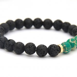 Friendship Bracelet | Lava and Green Imperial Jasper Stone Beads 2