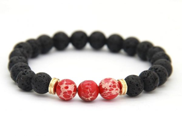 Sibling Bracelet | Lava and Red Imperial Jasper Stone Beads