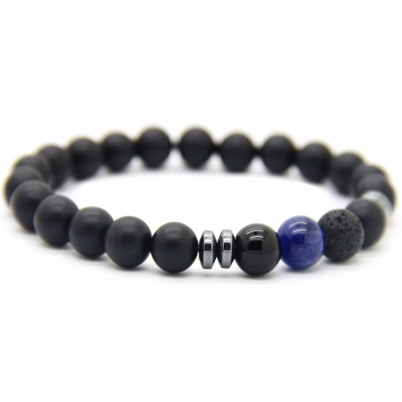 Good Luck Bracelet | Matte Black & Blue Agate Onyx Lava Stone Beads