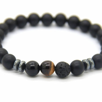 Good Luck Bracelet | Matte Black Agate Onyx Tiger Eye Lava Stone Beads