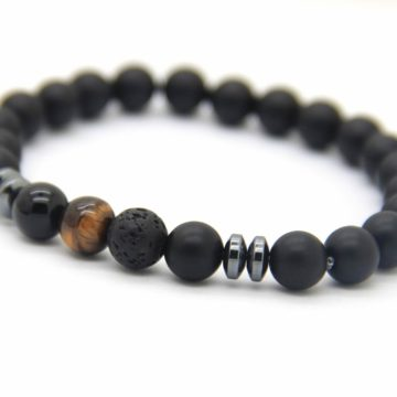 Good Luck Bracelet | Matte Black Agate Onyx Tiger Eye Lava Stone Beads 2