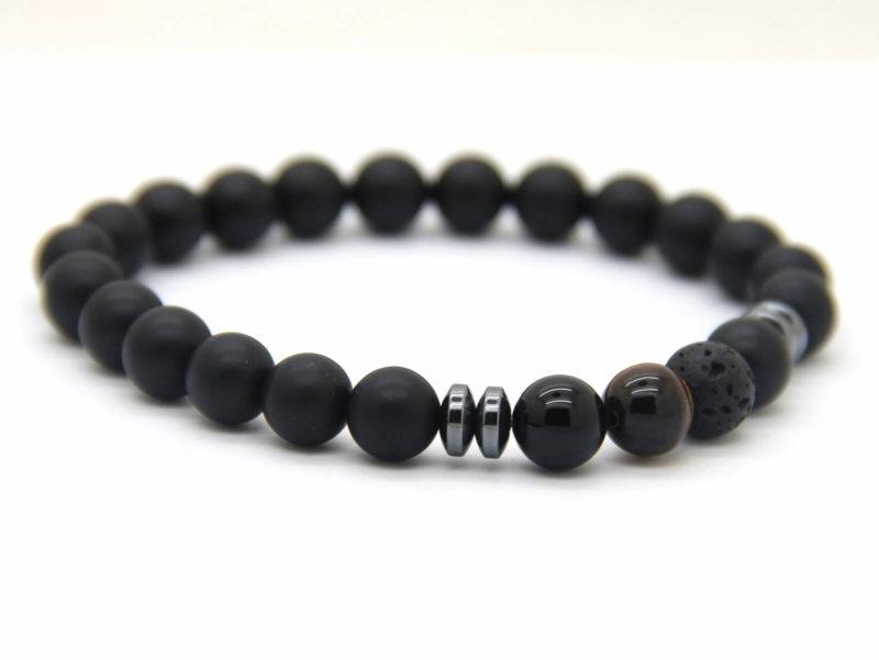 Good Luck Bracelet | Matte Black Agate Onyx Tiger Eye Lava Stone Beads