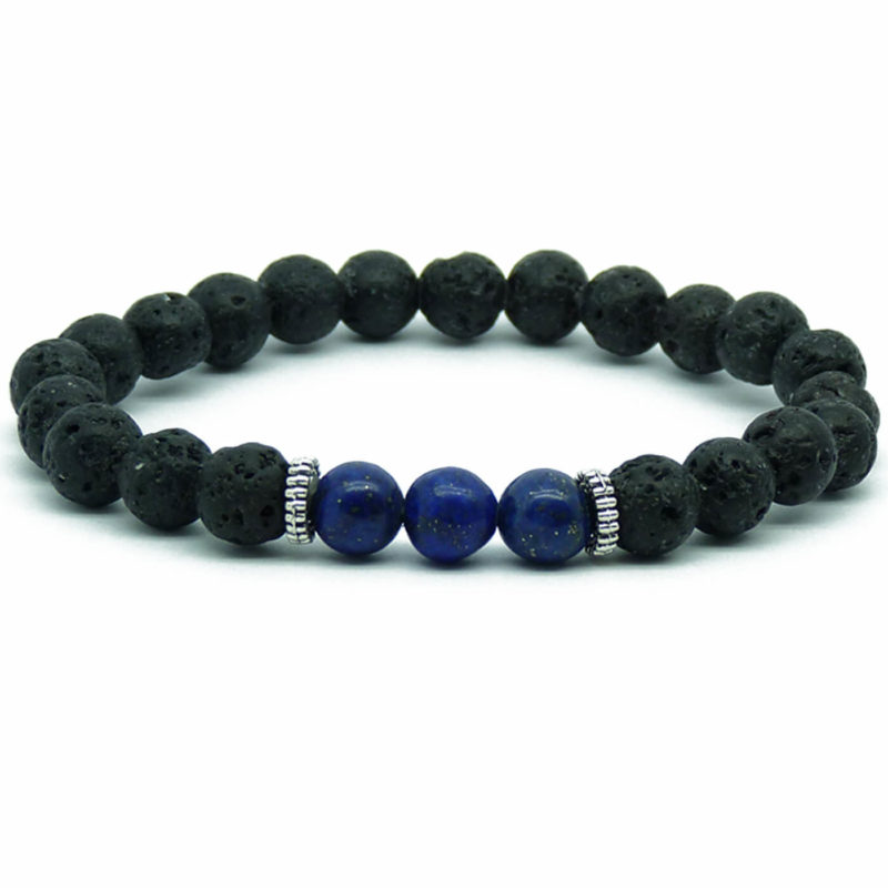 Strength And Wisdom Bracelet | Lava And Nahcolite Stones Beads
