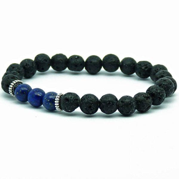 Strength And Wisdom Bracelet | Lava And Nahcolite Stones Beads