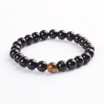 Inner Strength Bracelet | Shiny Black Agate with Tiger Eye Stone Beads