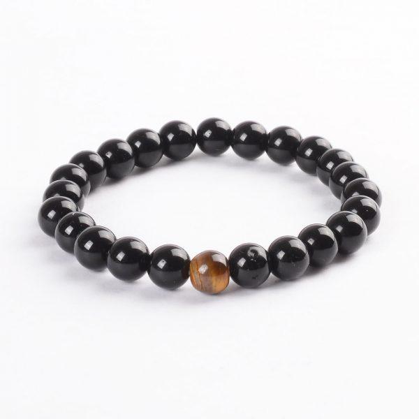 Inner Strength Bracelet | Shiny Black Agate with Tiger Eye Stone Beads