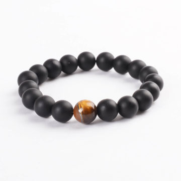 Protection Bracelet | Matte Black Agate with Tiger Eye Stone Beads