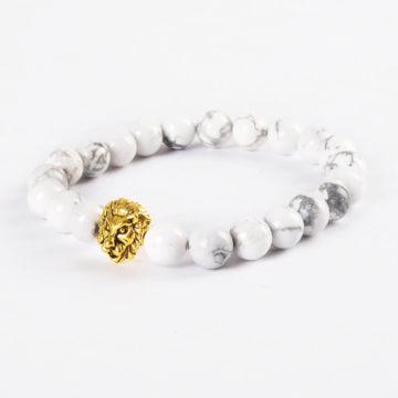 Golden Lion Ambitious Progress Bracelet - White Howlite Stones 2