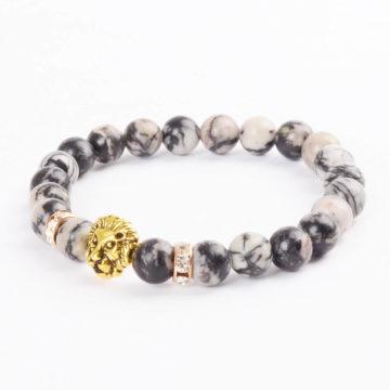 Golden Lion Wisdom Bracelet - Spider Web Jasper Stone Beads 2