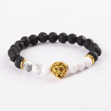 Golden Lion Emotional Calmness Bracelet - Howlite & Lava Stones