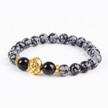 Alpha Gold Lion Life Balancing Bracelet - Black Grey Obsidian Stones 2