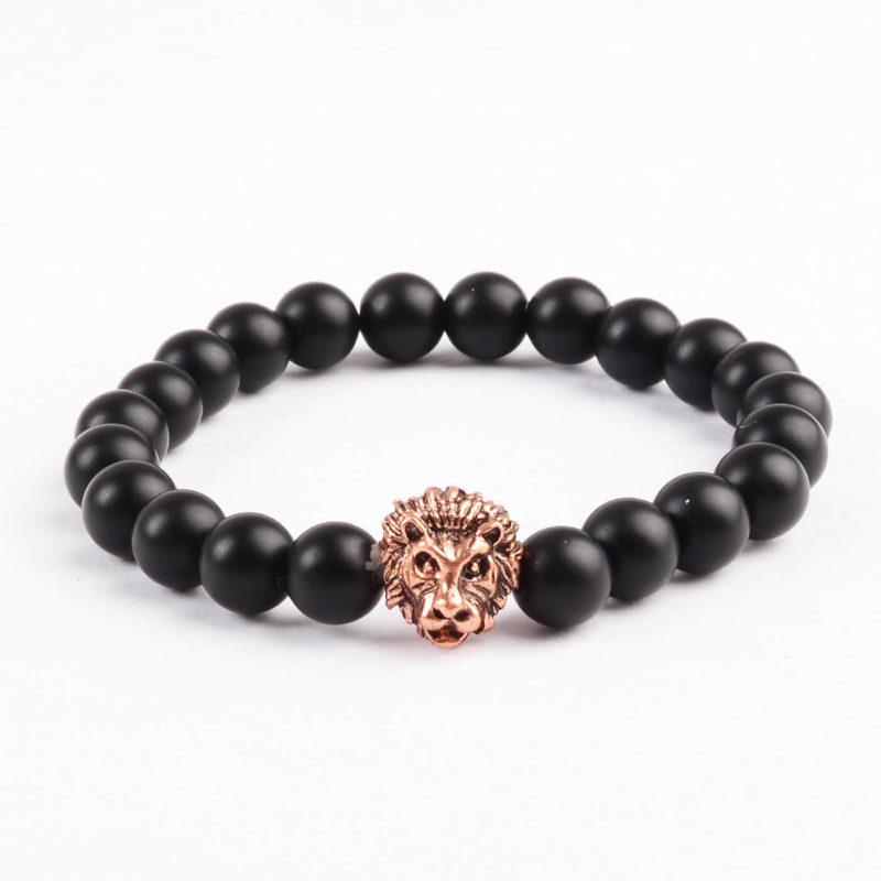 Rose Gold Lion Courage & Protection Bracelet - Matte Black Agate Beads
