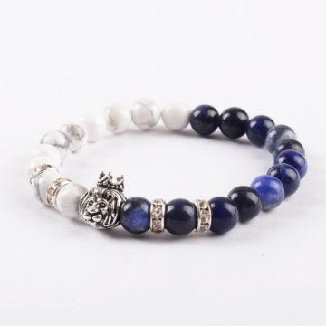 Crowned Lion Spiritual Guardian Bracelet - Howlite